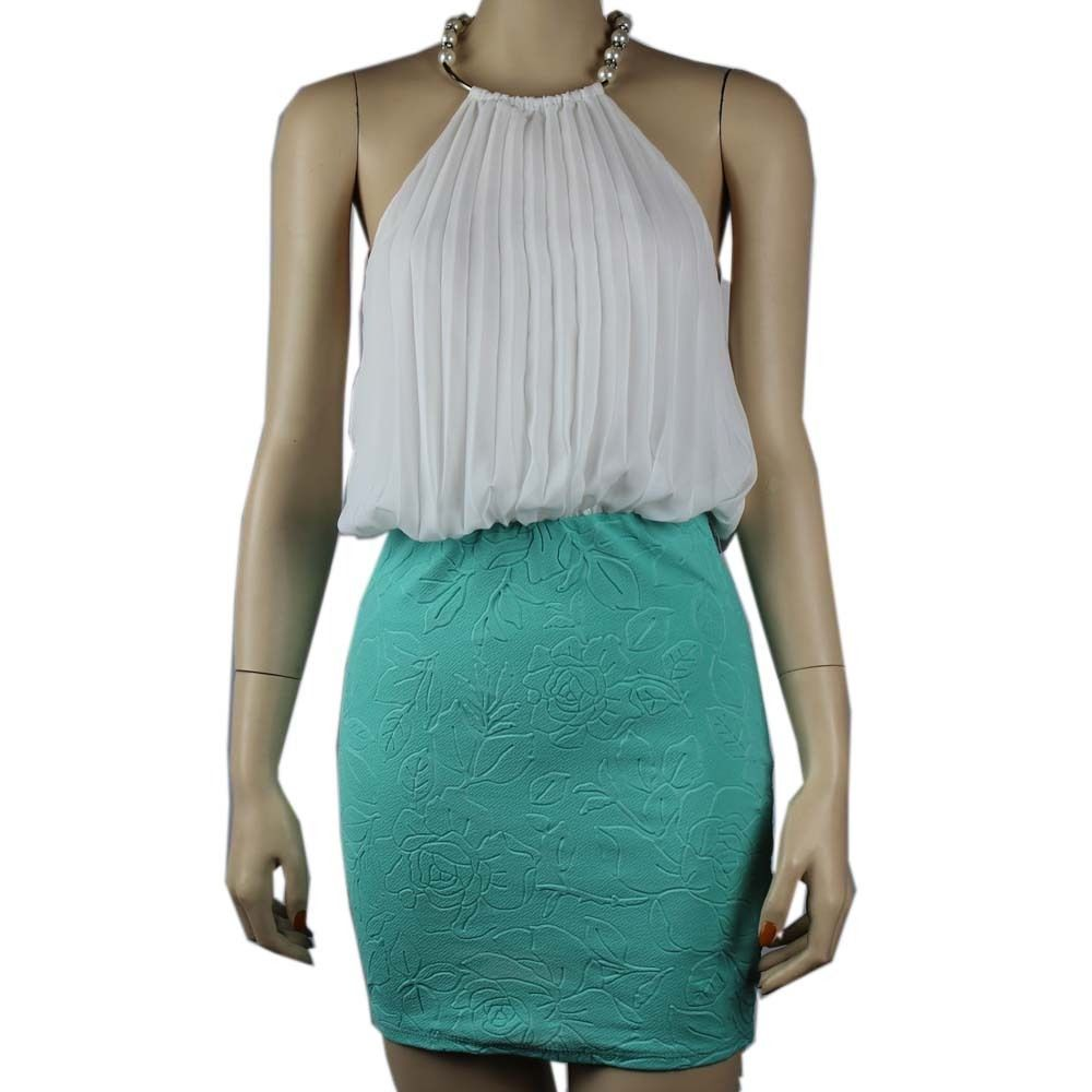 Chiffon Pleated Front Halter DRESS w/ Pearl Neck, Band Waist, Stretch Skirt SML