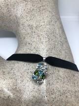 Vintage Genuine Blue Topaz Mixed Gemstone 925 Sterling Silver Choker Necklace - $106.92