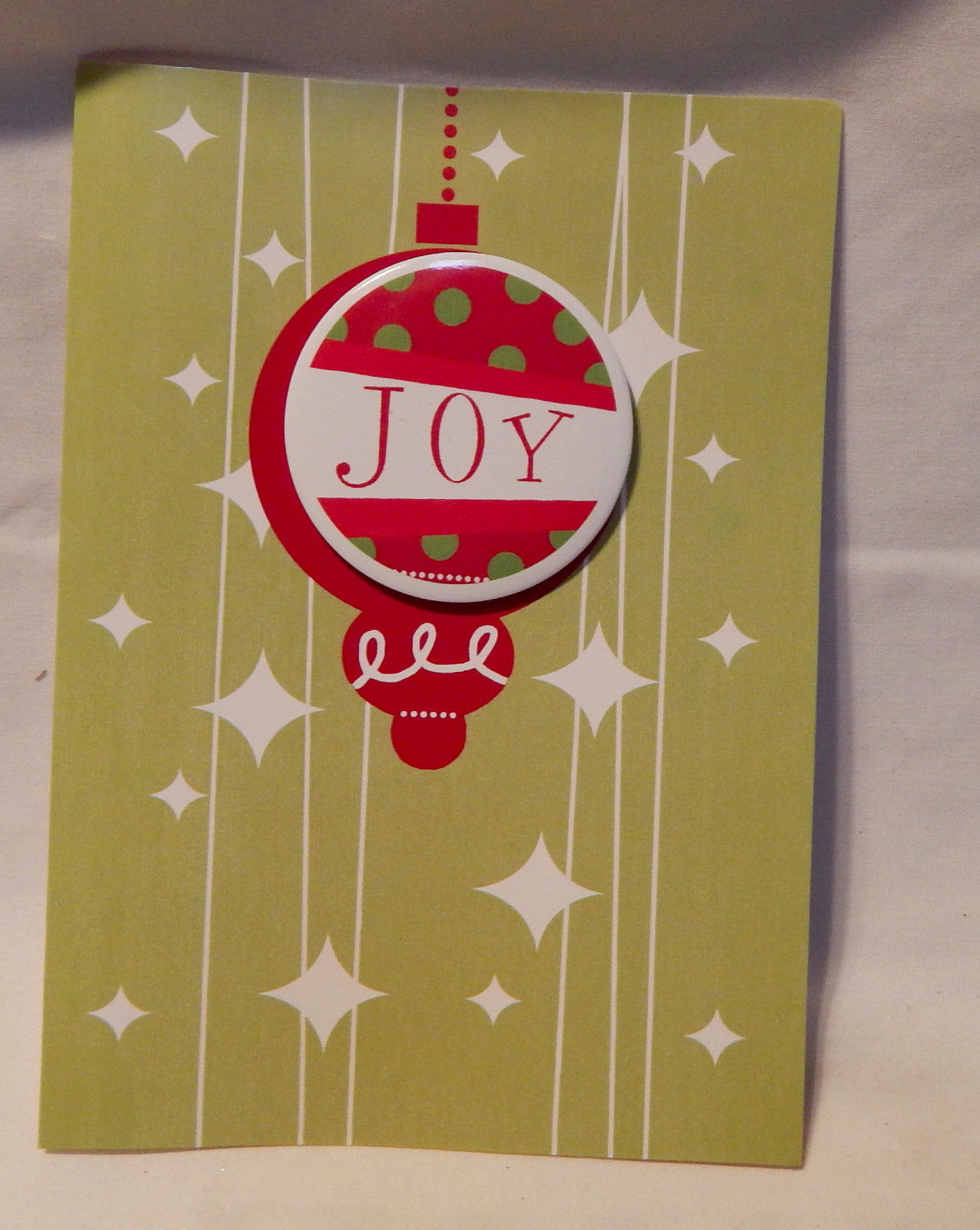 "Christmas Cards 8 Holiday Metal Pin On Button Cards & Envelopes Joy 5"" x 7"" 23L"