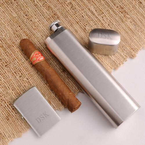 Personalized Zippo Lighter and Single Cigar Case Flask Gift Set - Free Shipping!