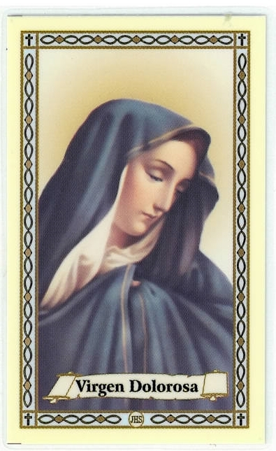 Primary image for Laminated Prayer Card - Virgen Dolorosa - L300.0057