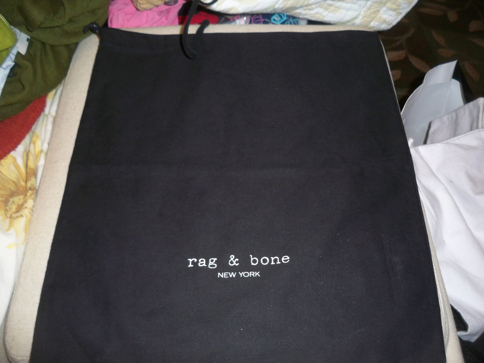 Designer Sleeper/ Dust Bag Rag & Bone New York Black  Cotton with White Logo