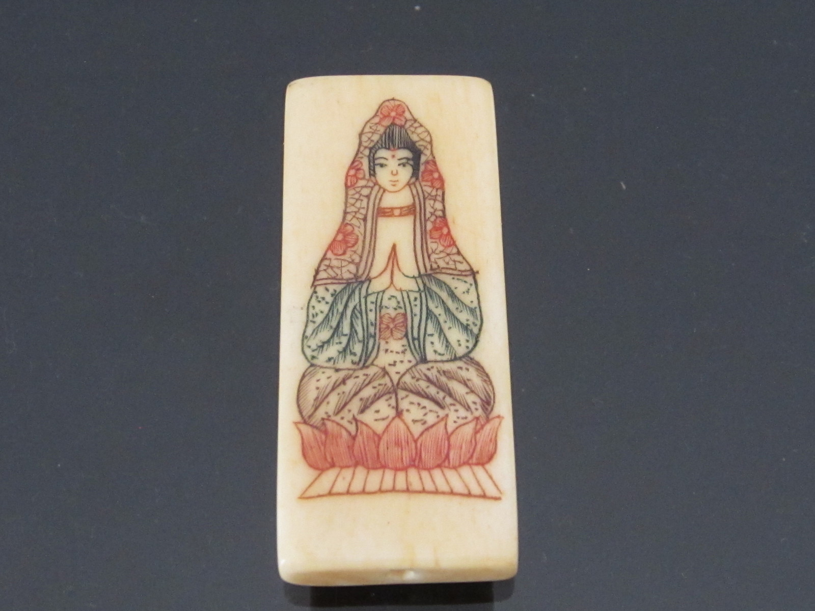 Vintage Faux Ivory Buddha Carved Charm Pendant