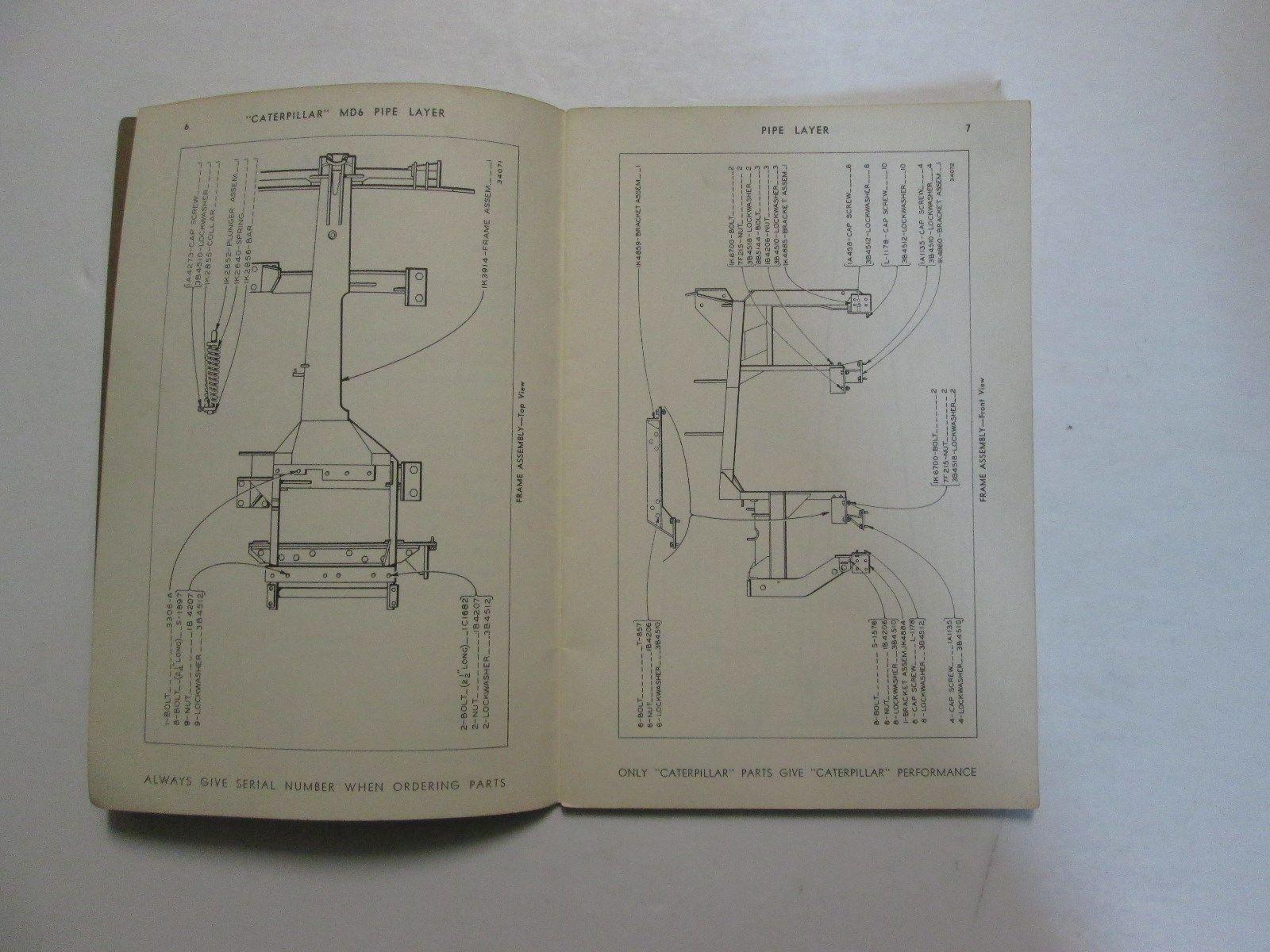 Caterpillar MD6 Pipelayer Parts Catalog Manual USED OEM CATERPILLAR md6