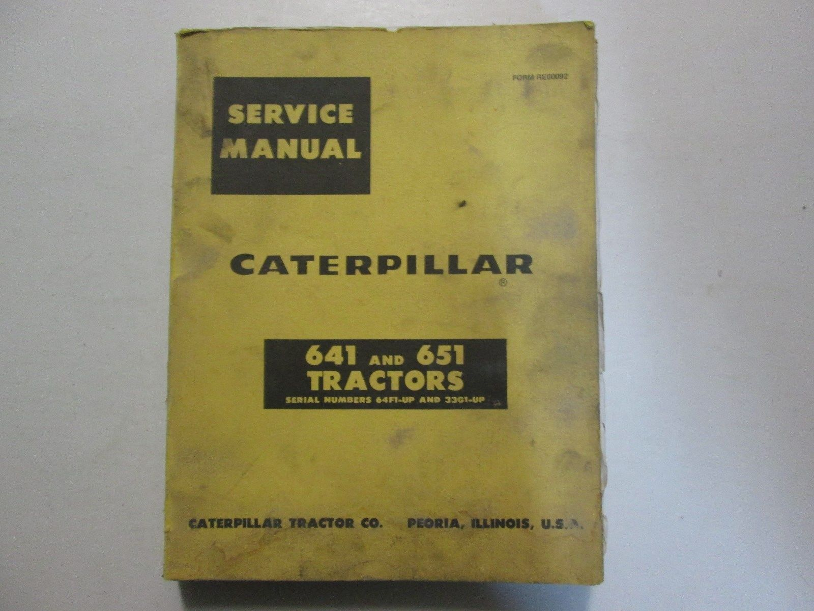 Caterpillar 641 And 651 Tractor Service Manual 64F1-UP 33G1-UP WATER DAMAGED OEM