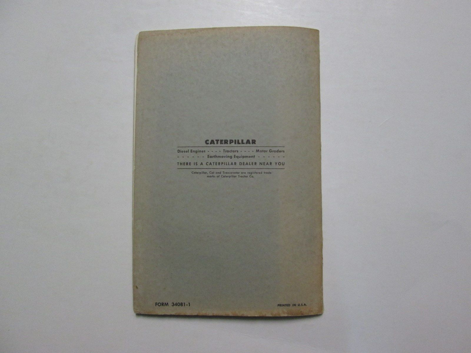 Caterpillar Hydraulic Scrapers Operation And Maintenance Instructions USED OEM