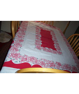 Vintage roses simtex floral tablecloth with cloth tag - $45.00