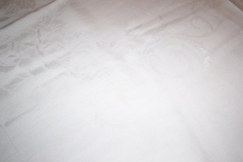 Large white Damask Tablecloth