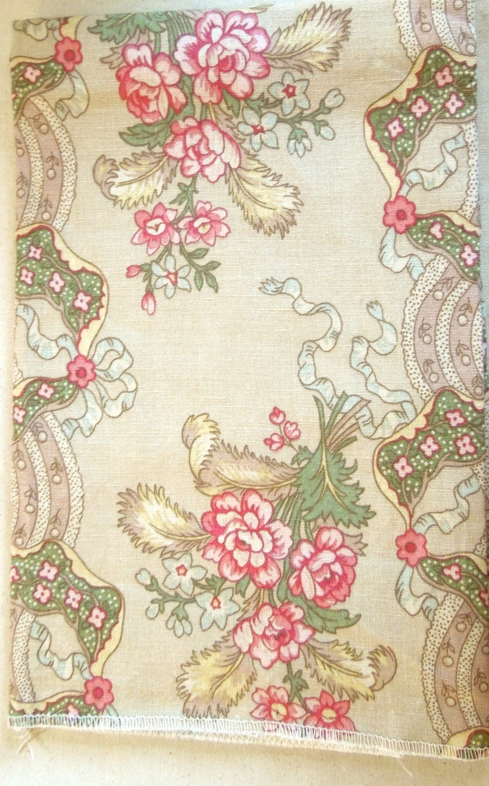 Apt bedrm drawer  3 27  square line fabric with finished edges muted antique floral colors linen  pink  blue  green 10 2 13 gw .74  5021