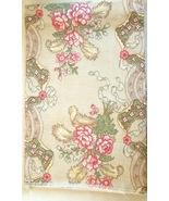 "27"" Square Fabric Piece - Linen - Finished Edges.  Floral design #5021 - $2.49"