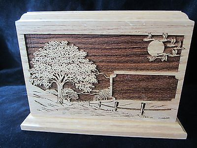 Brand New Oak Wood Hand Carved Chest Urn Funeral Cremation Adult Memorial Box