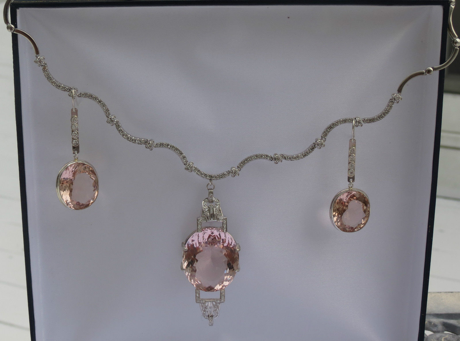 Mint  Estate Flawless Huge 48.24 carat Natural Morganite Platinum drop earrings