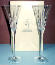 "Lenox Timeless Handcut Toasting Flute Pair (2) Crystal 11""H New - $56.90"