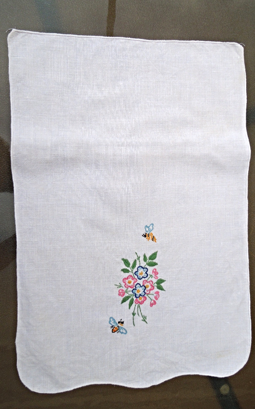 "Vintage Doily - Chair Back?  White w/Flower and Bee Embroidery 12"" x 17"" #4707"