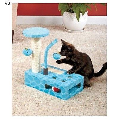 Cat Play Gym Blue Activity Post Pet Scratch House Tree Condo Movement Develop