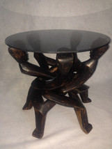 VTG African Carved Wood Dancing 5 Head Unity Sculpture Table Circle Of L... - $373.07