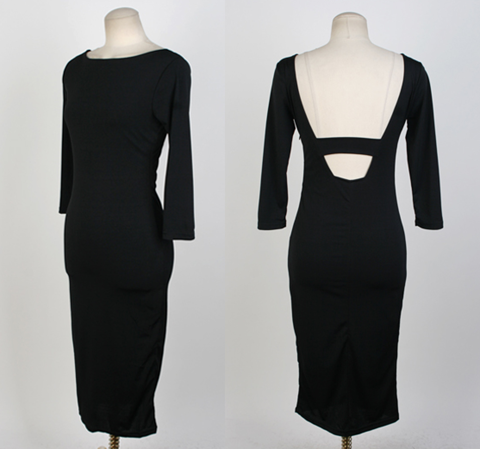 Feminine Backless Black Sheath Dress. Cocktail Party Slim Fit Black Dress. LBD