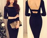 2015 spring summer backless dress black slim fit thumb155 crop