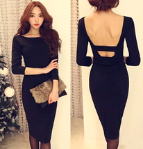 Feminine Backless Black Sheath Dress. Cocktail Party Slim Fit Black Dres... - $88.90