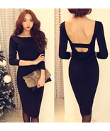 Feminine Backless Black Sheath Dress. Cocktail Party Slim Fit Black Dres... - $88.90