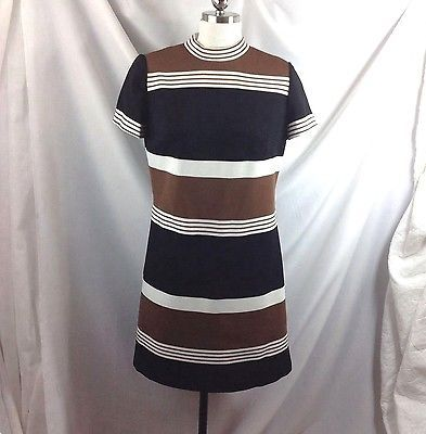 Leslie Fay Orig Mod Striped Ribbed Polyester Dress Secretary Brown Black White M