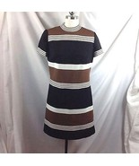 Leslie Fay Orig Mod Striped Ribbed Polyester Dress Secretary Brown Black... - $49.01