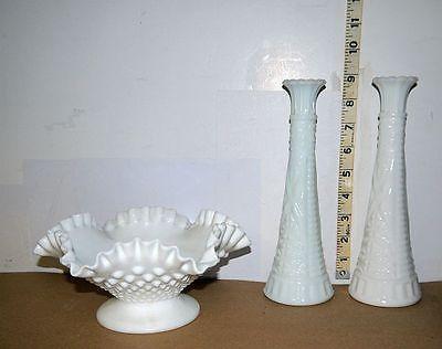 White Milk Glass Hobnail Bowl with Pedestal + 2 Matching White Milk Glass Vases
