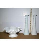 White Milk Glass Hobnail Bowl with Pedestal + 2 Matching White Milk Glas... - $7.82
