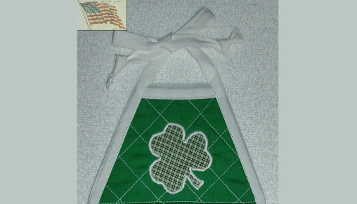 Kitchen Towel - Quilted Top with Ties - Shamrocks - Appliqued - Plush--#108