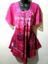 Top Fits 1X 2X 3X 4X Plus Long Tunic Pink Stamp Art Roses A Shaped NEW R... - $24.55