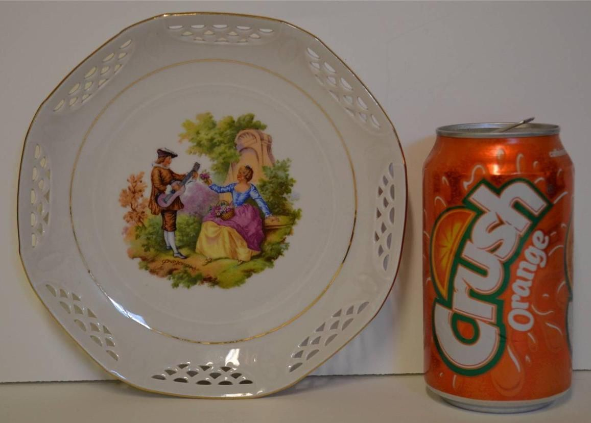 Schwarzenhammer Germany ~ Porcelain Plate Love Story Courting Couple ~ Signed