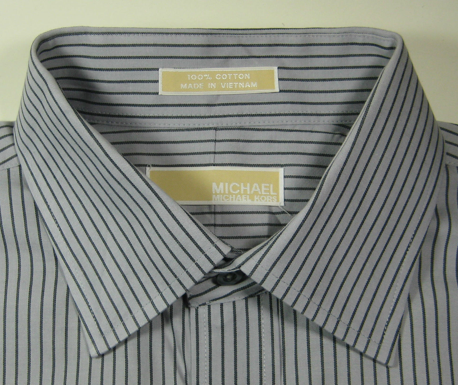 MICHAEL KORS XL 17 x 34/35 Gray Black Stripe Dress Shirt Excellent
