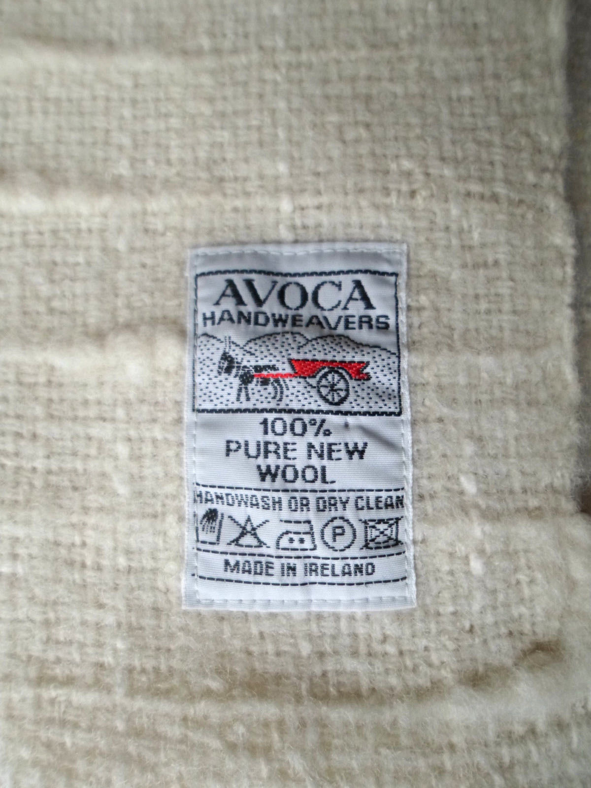 "AVOCA IRELAND Handwoven Cream Wool Throw Blanket  with Fringe Trim 38 X 59"""