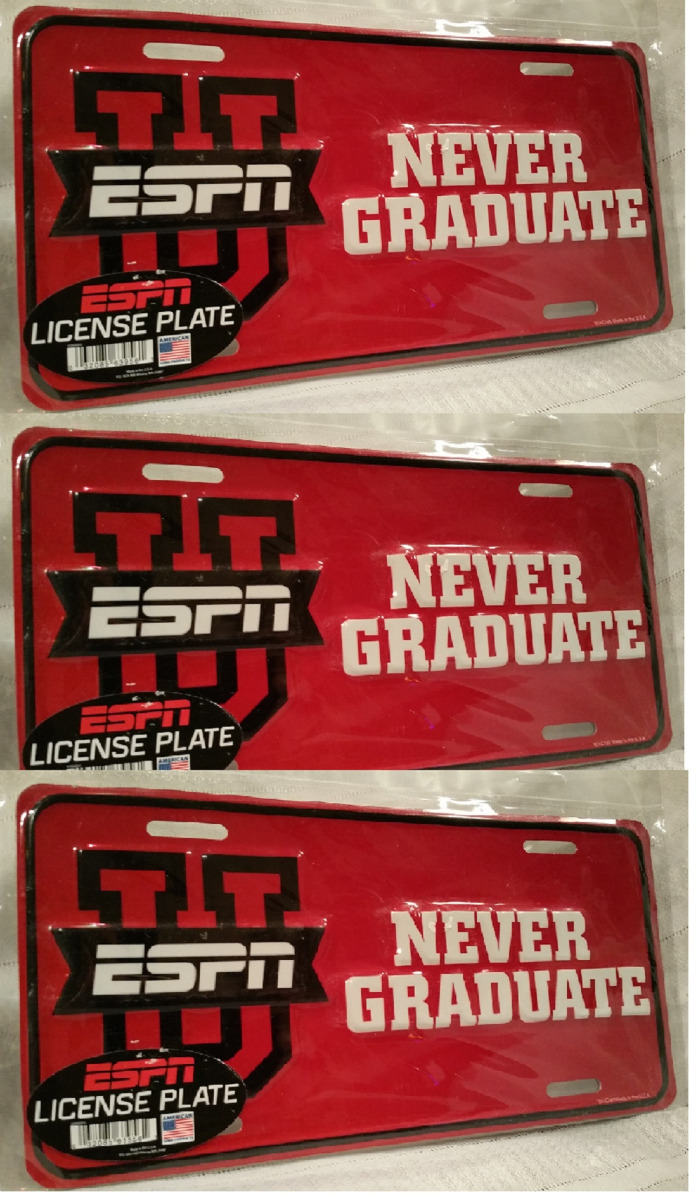 ESPN U-College Game Day License Plate University-Never Graduate-Man Cave Lot of3