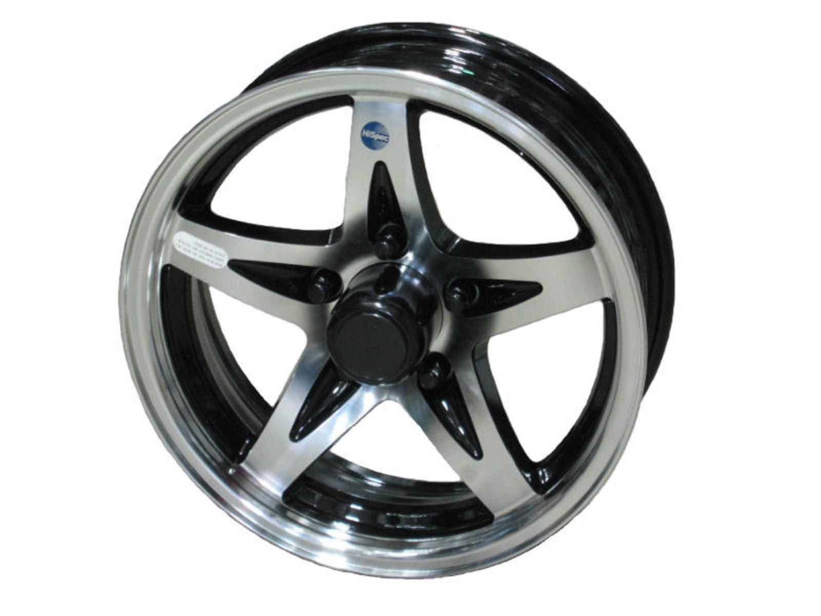 "15"" 5 Lug Series 14 Black Hispec Aluminum Trailer Wheel bbb camper rv utility"
