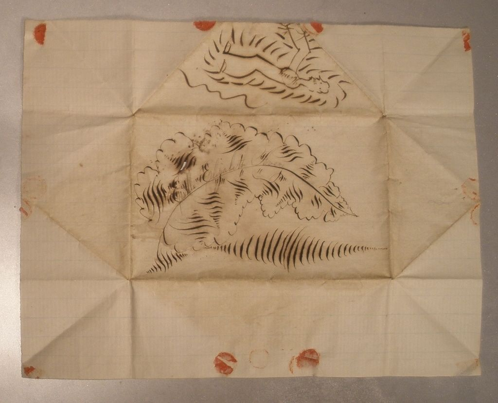 19th Century Hand Drawn Folded Paper Envelope Cover