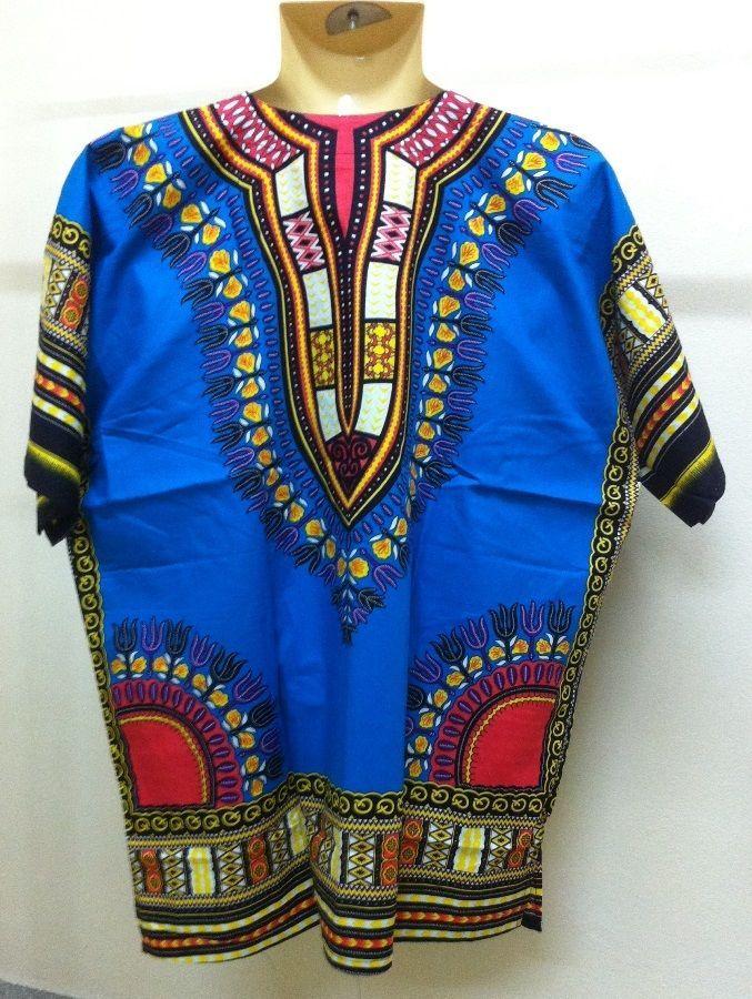 Unisex African Dashiki Shirt caftan Hippie Boho Men Women Plus Size Top Blouse B