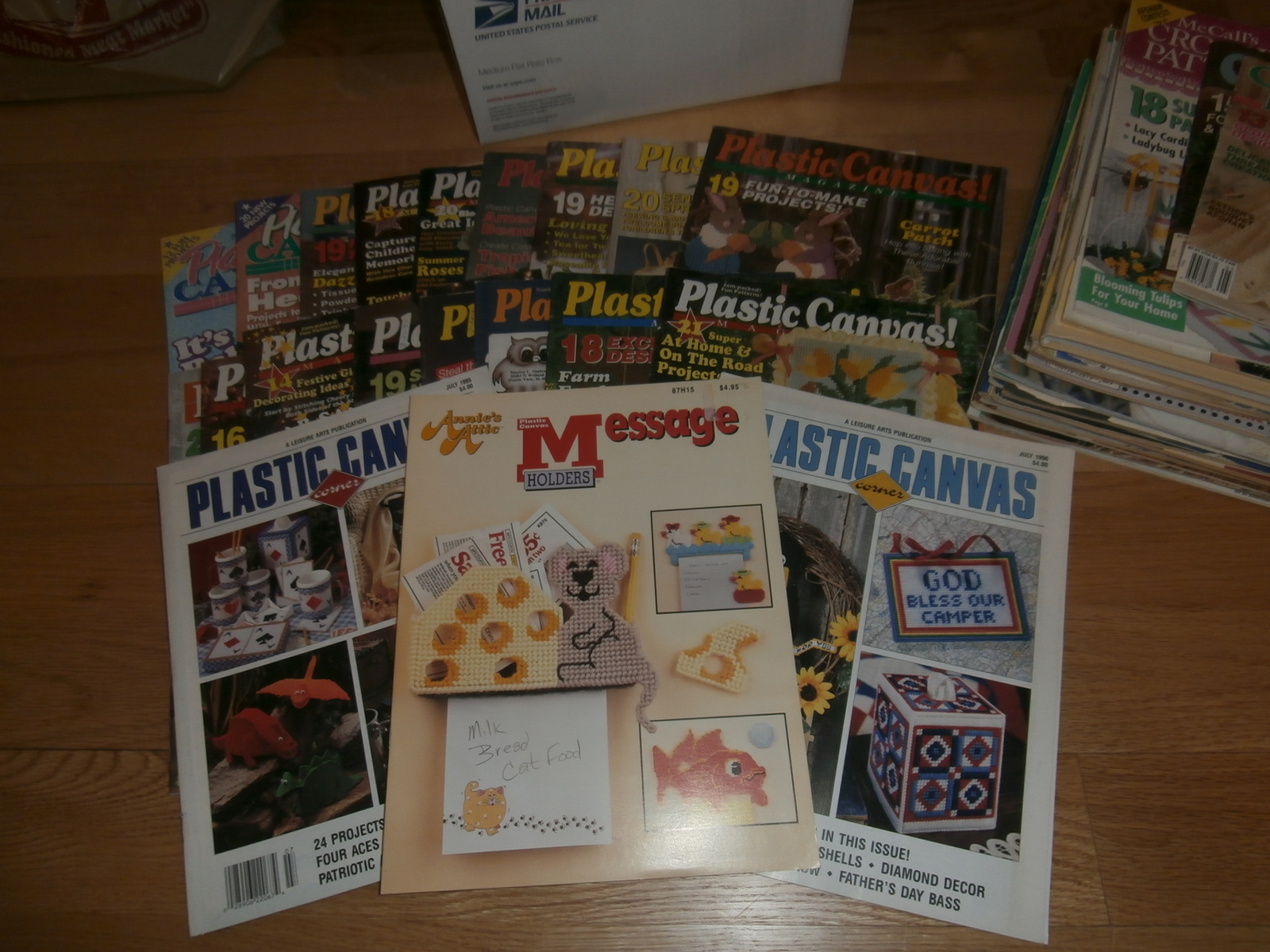 B-Med Flat Rate Box of Plastic Canvas & Crochet Magazines~C Pictures