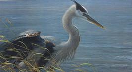 Robert Bateman Lunging Heron #67 Mill Pond Press Bird in Lake Setting So... - $75.23