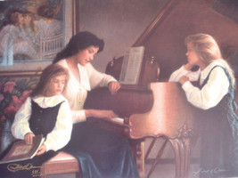 "Robert Olson Evening Calm Mother & Daughters with Piano ""AS IS"" #989 Ret... - $158.39"