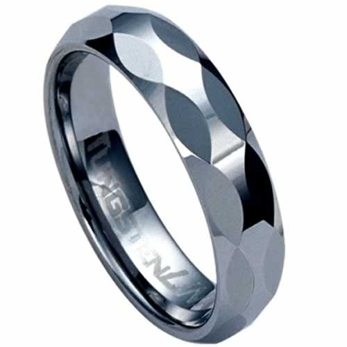 Diamond-cut Tungsten Carbide Ring Band Size 9.5