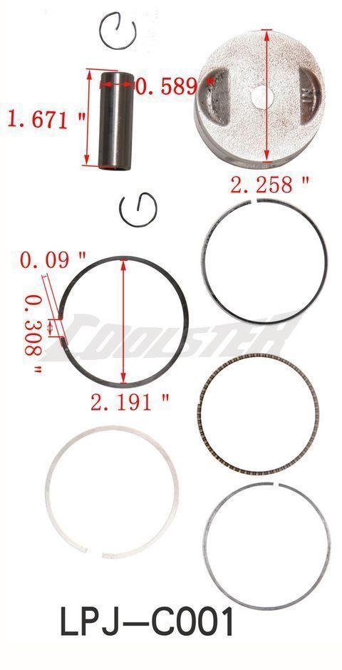 Go Kart 4 Wheeler Piston Kit Rings Engine Motor Parts For 150cc CARTER TALON 150