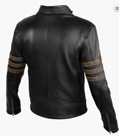 Handmade X-Men Volverine leather jacket, Xmen movie black real leather jacket