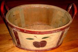 Oval Wood Basket w/ Dark Red Apple Motif + Fitted Plastic Li - $10.00