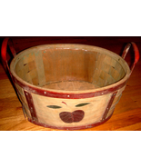 Oval Wood Basket w/ Dark Red Apple Motif + Fitted Plastic Li - $10.00