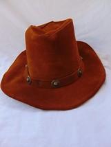MINNETONKA Adult Unisex Western Style Hat Small Burnt Orange Suede Leath... - $25.00