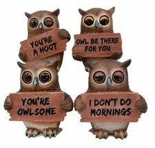 "Forest Wisdom Great Horned Owl Holding Signs Figurine Set 3.5""H Four Fun... - $28.99"