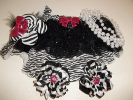 Baby Girl Small  Zebra Print Diaper Cover With Headband & Pearls - $16.00
