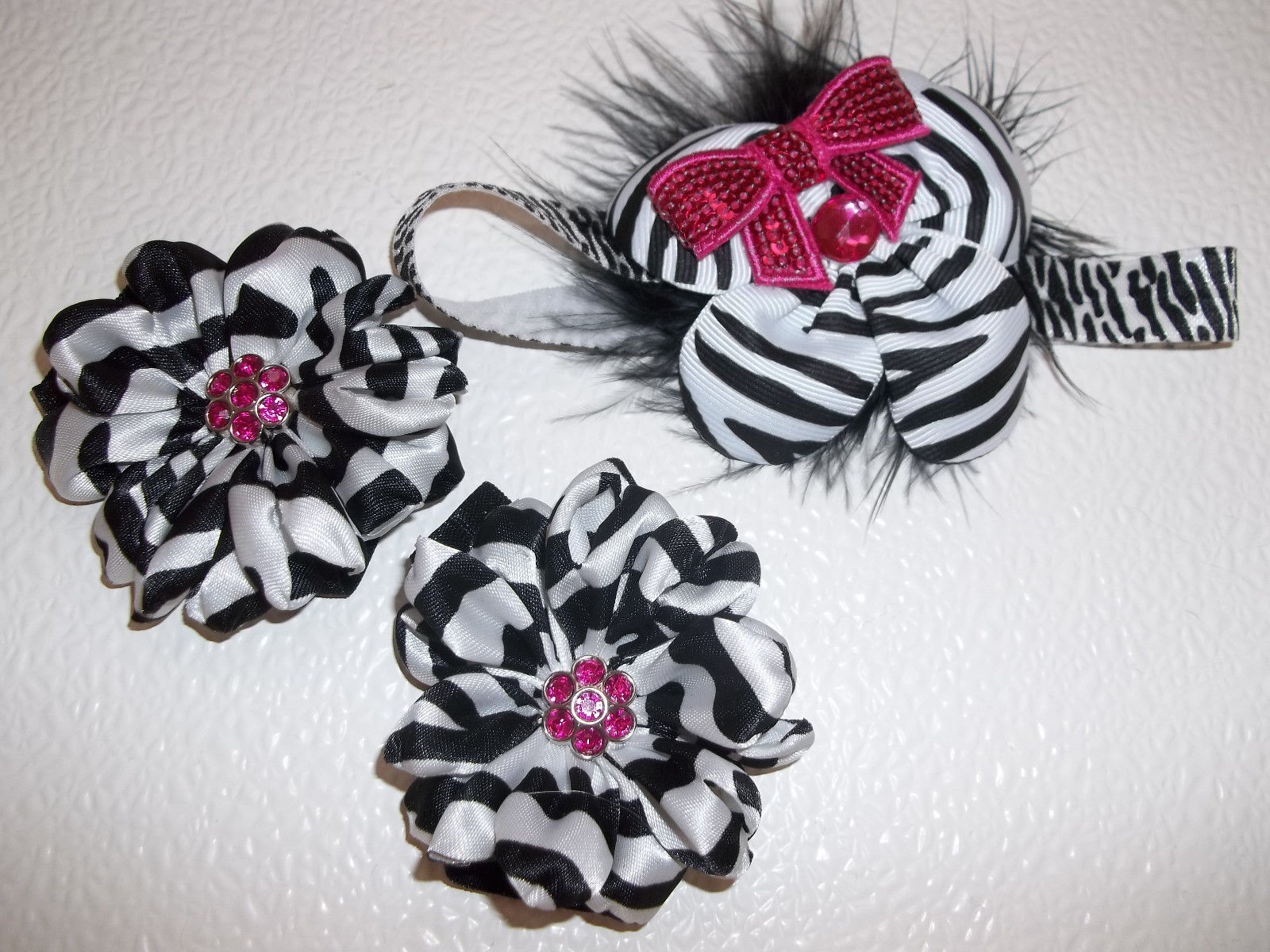 BABY GIRL SMALL  ZEBRA PRINT DIAPER COVER WITH HEADBAND & PEARLS