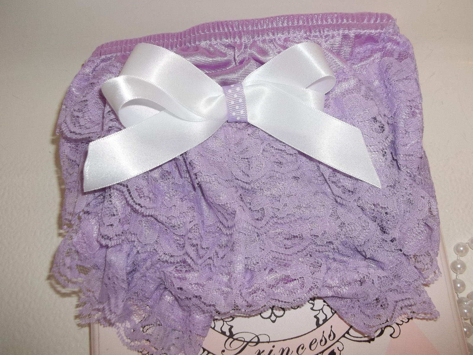 NEWBORN BABY GIRL LAVENDER LACY BLOOMERS, HEADBAND, BAREFOOT SANDALS & PEARLS
